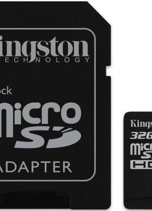Карта памяти Kingston microSDHC 32GB Class 10+SD adapter (SDC10G2