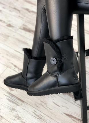 Угги натуральная кожа овчина ugg bailey button black leather