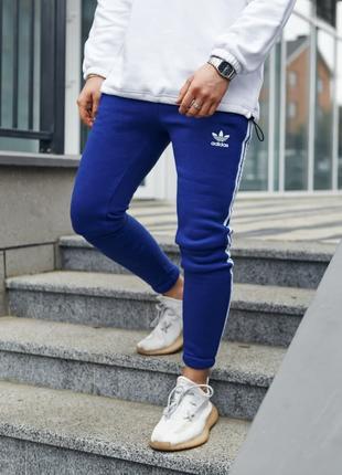 Теплые спортивные штаны в стиле Adidas Thre line синие