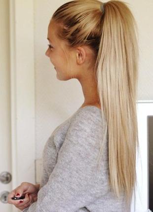 Хвост искусственные волосы на ленте белые блонд волосы парик д...