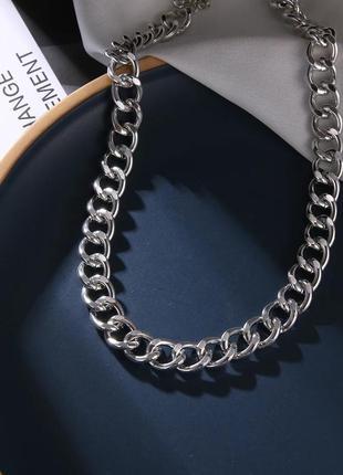 Серебристая цепочка цепь на шею