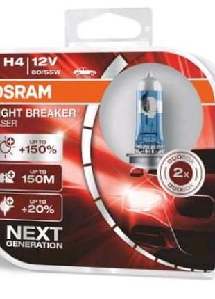 Лампа галогенная Osram H4 Night Breaker LASER +150% 55W 12V