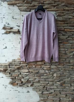 Теплый трикотажный пуловер большого размера