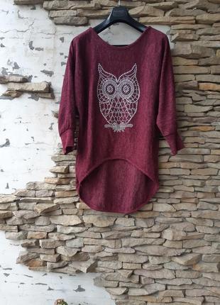 Теплый с совушкой пуловер большого размера