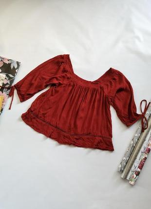 Бордовая блуза/топ с опущенными плечами atmosphere