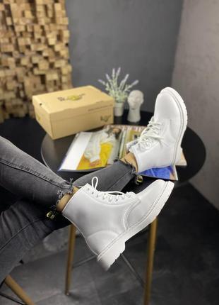 Ботинки dr. martens 1460 white белые на меху