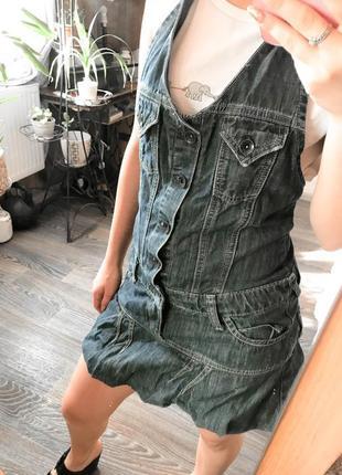 Комбинезон с юбкой джинсовый, очень стильный