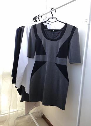 Классическое офисное короткое платье , с коротким рукавом miss...