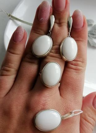 Серебряный набор с белым агатом, 925, серебро, кольцо и серьги
