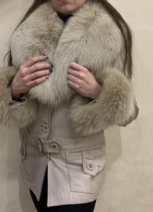 Зимняя кожаная куртка (мех кролик)