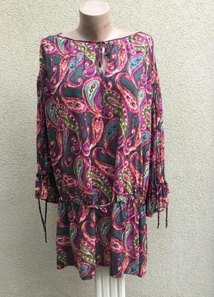 Блуза,рубаха,туника,этно,бохо стиль,принт огурцы,большой размер