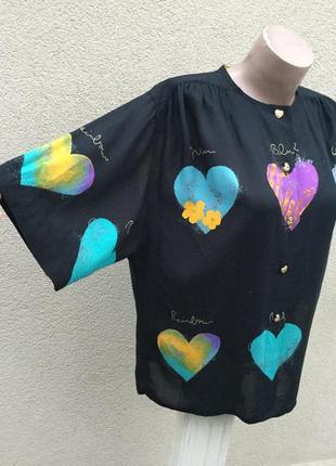Винтаж,легкая,штапельная блуза,рубаха в принт сердечки,большой...