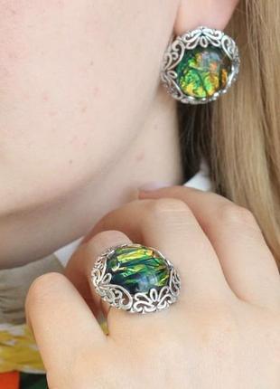 Серебряный гарнитур с опалом, 925, серебро, опал, кольцо, серьги