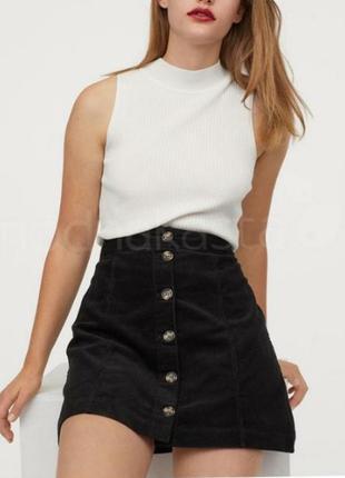 Трендовая юбка трапеция на пуговицах высокая талия вельветовая...