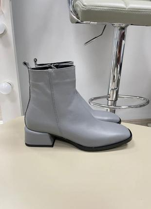 Ботинки зима осень полусапоги кожа замш удобный каблук