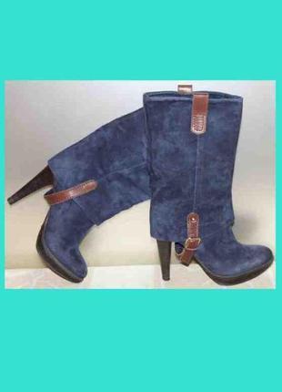 Крутые полусапоги ботинки замша/кожа синий коричневый scorett