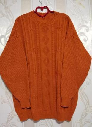 Теплый свитер кофта пуловер с узором , 30% шерсть.