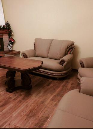 Класичний шкіряний комплект меблів, кожаная мебель
