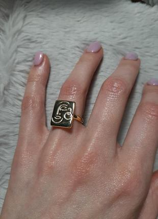 Кольцо серебро 925 проба цвет золото перстень