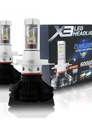 Светодиодные LED лампы для фар X3 H7 H4 6000K світодіодні лед ...