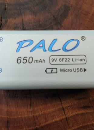 Аккумулятор Крона 9В 650mAh PALO Li-Ion (6F22) зарядка micro-USB