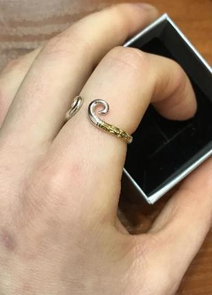 Кольцо безразмерное серебро с позолотой