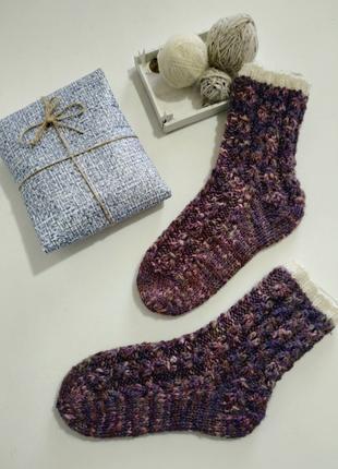 Вязаные домашние носки