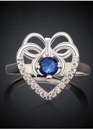 🏵️потрясающее кольцо в серебре 925 с фианитами сапфиром, 18 р,...