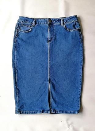 Джинсовая стрейчевая синяя юбка-карандаш с разрезом спереди ne...
