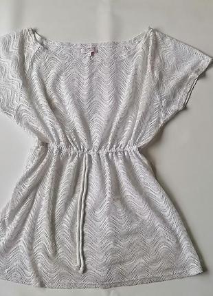 Белое мини платье-туника ажурное\накидка на куплальник papaya ...