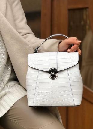 Итальянский кожаный рюкзак сумка кожаный белый рептилия новая ...