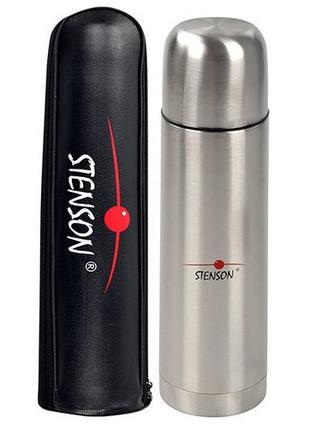 Термос туристический Stenson MT-0180 с чехлом 0.75 л Серебристый