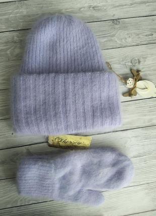 Шапка бини!шапка ангоровая!шапка и варежки одиссей!шапка зимов...
