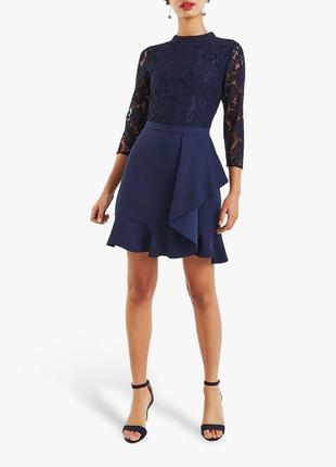 Oasis миди синее новое темное платье гипюр кружевое ассиметрия...