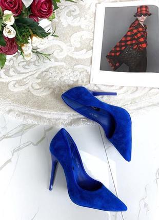 Синие замшевые туфли лодочки на шпильке,замшевые туфли электри...