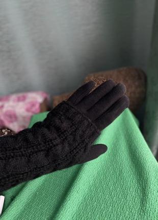 Тёплые вязаные перчатки митенки рукавиці 2в1