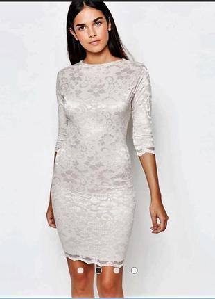 Нарядное вечернее   кремовое кружевное  платье, платье футляр,...