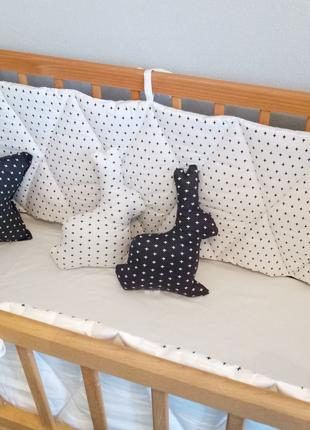 Бортики из сатина в детскую кроватку из 4-ех частей 360 х 35см