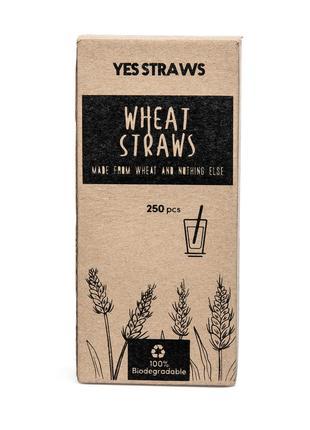 Эко трубочки для напитков YES STRAWS, рожь, 19 см диаметр 3-4 мм