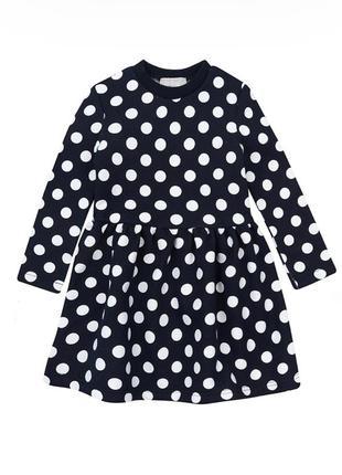Платье kidscouture футер с начесом синее в горошек (10343205)
