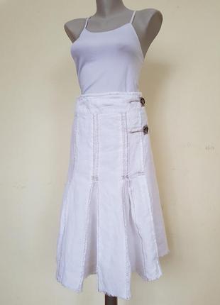 Стильная необычная юбка лен