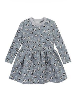 Платье kidscouture футер с начесом серое с пингвинами (161711508)