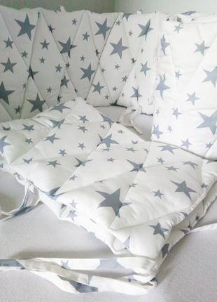 Бортики для детской кроватки сатин из 2-ух частей 360х35см