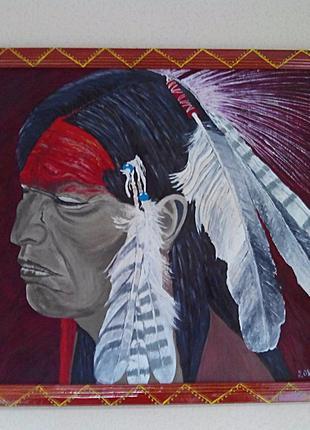 """Картина """"Индеец"""" двп масло +рама 60*80см. ручная работа."""