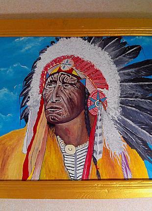 """Картина """"Индеец"""" двп масло+рама 40*60см. ручная работа."""