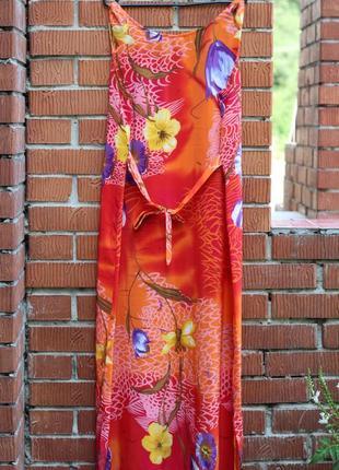 Яркий летний сарафан, платье 52-54 шелк
