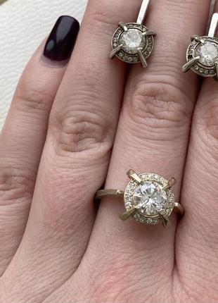 Серебряный набор: кольцо 17 размер и сережки