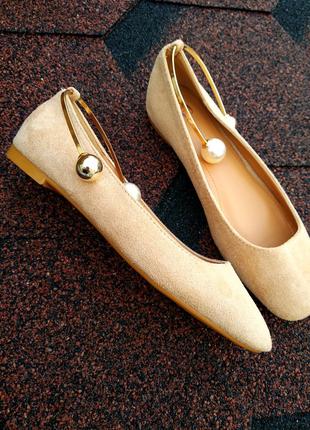Балетки,туфли с браслетом бусинами