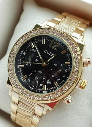 Женские наручные часы под золото с черным циферблатом