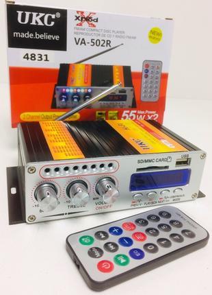 Усилитель звука UKC VA-502R USB + Mp3 + FM двухканальный